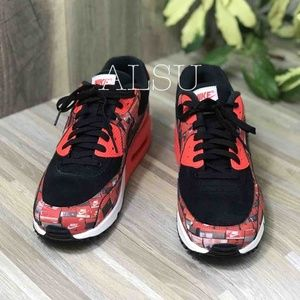 NWT Nike Air Max 90 Print Black Red Mens AUTHENTIC NWT